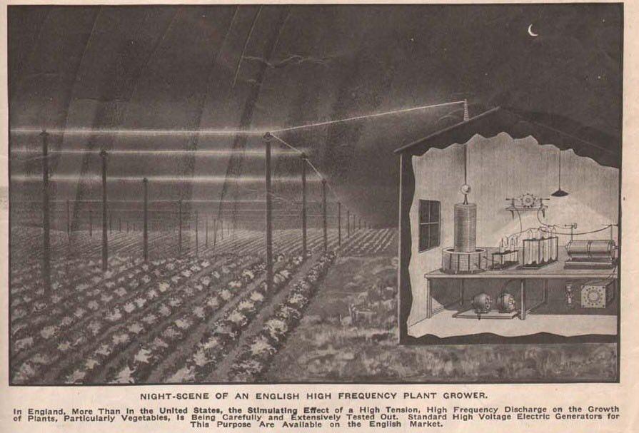 Electricidad utilizada para acelerar los cultivos (1917)